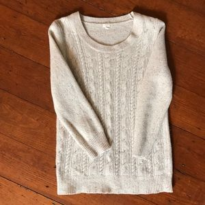 J. Crew ivory front cable knit sweater